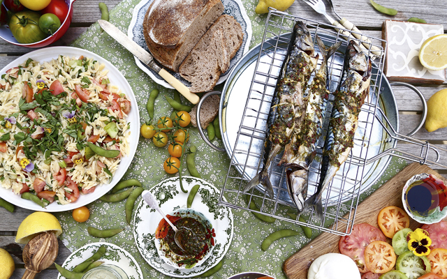 barbecued mackerel with chilli pesto drizzle and heirloom tomato orzo salad