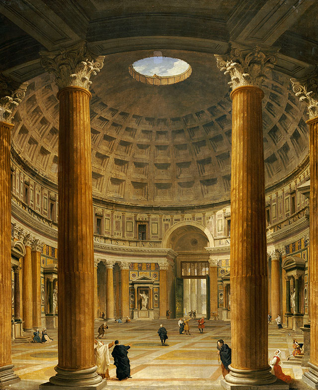 The Interior of the Pantheon, Rome, looking North from the Main Altar to the Entrance, 1732 (oil on canvas)