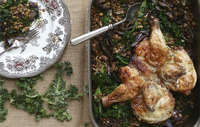 spatchcock chicken with kale
