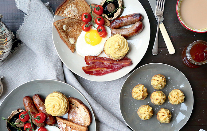 full English breakfast with savoury parsnip-topped muffins