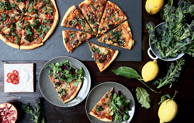 Spiced-lamb pizza with roasted purple-sprouting broccoli