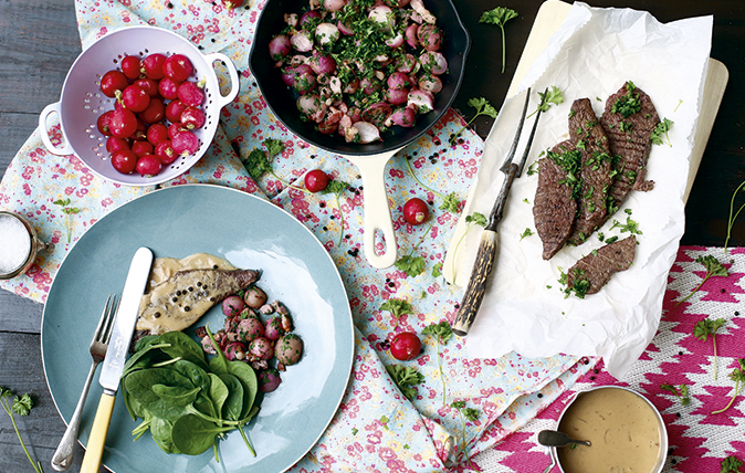 Grilled steak, buttery radishes and bacon with peppered sauce