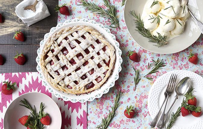 Strawberry, rhubarb and almond tart with rosemary ice cream