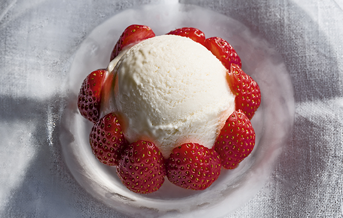 strawberries with rosewater ice cream