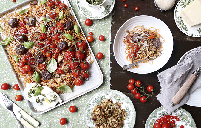 Venison meatballs with roasted tomatoes