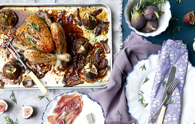 Fig, rosemary and balsamic roasted chicken with roasted fig parcels
