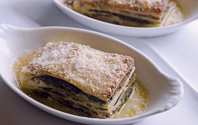 Mushroom, ham and spinach lasagne