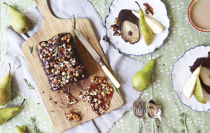 Pear, chocolate and chocolate-ganache loaf with pecan-and-rosemary brittle