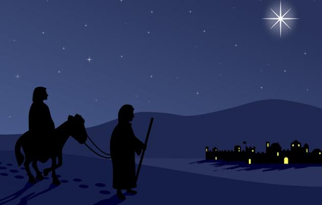 Mary and Joseph approach Bethlehem