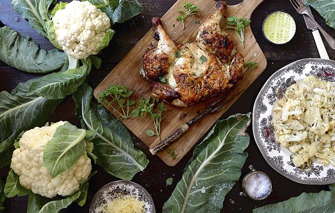 Spatchcock chicken with garlic and Parmesan cauliflower steaks ...