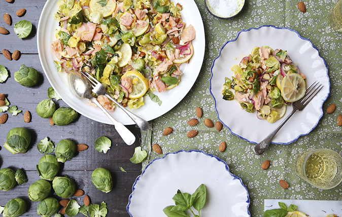 Brussels sprouts with salmon and saffron