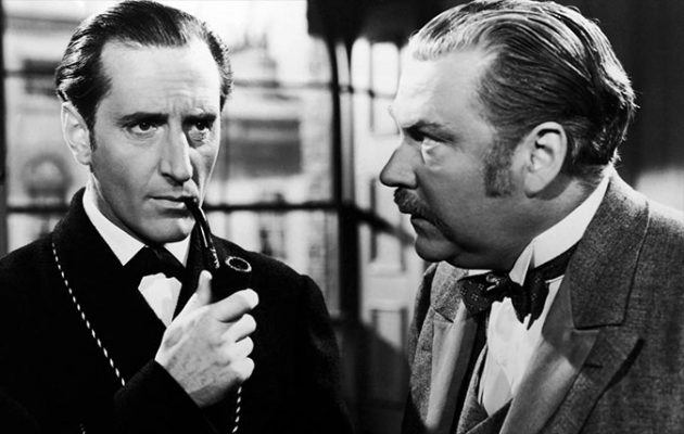 Sherlock Holmes and Dr Watson, as portrayed by Basil Rathbone and Nigel Bruce