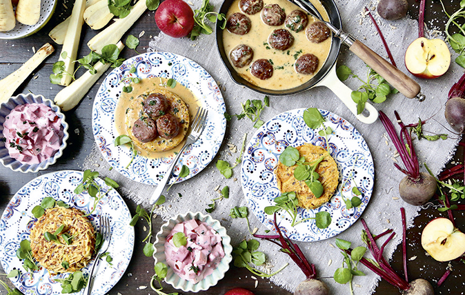 Parsnip rösti with Scandinavian meatballs