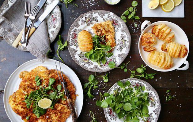 Pheasant Milanese with Parmesan spiral potatoes