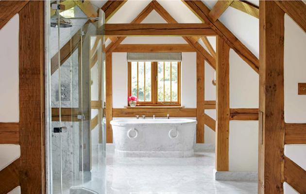 Drummonds - bathroom with antique marble bath