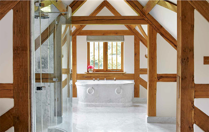 Drummonds - bathroom with antique marble bath
