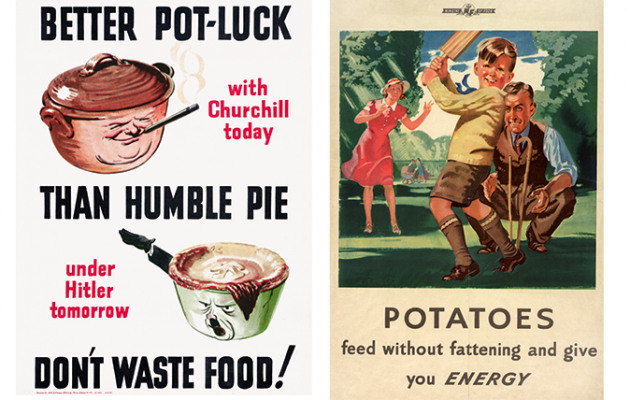 Wartime potato poster - ©IWM (PST 3366) and pie poster ©IWM (PST 3108)