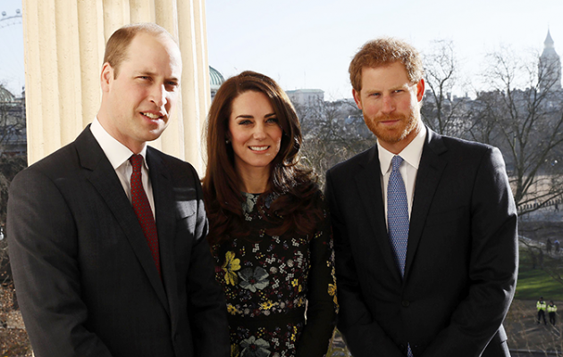 Britain's Prince William, Kate Catherine Duchess of Cambridge and Prince Harry pose for photograph at the Institute of Contemporary Arts in central London