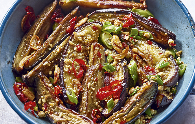 Aubergines with ginger, spring onion and chilli