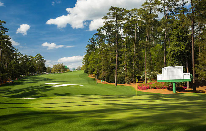 Augusta National Golf Club, home of The Masters - view up the 10th fairway from behind the green