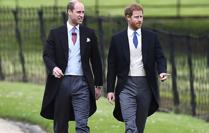 Prince William, left and Prince Harry, arrive for the wedding of Pippa Middleton and James Matthews