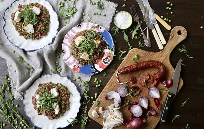 Pea and chorizo risotto with monkfish