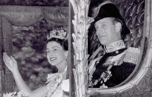 The Duke of Edinburgh accompanies HRH The Queen during her coronation in 1953