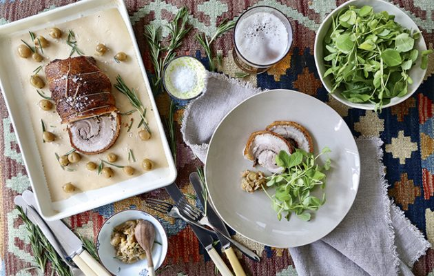 Slow-roasted, gooseberry-stuffed rolled pork belly