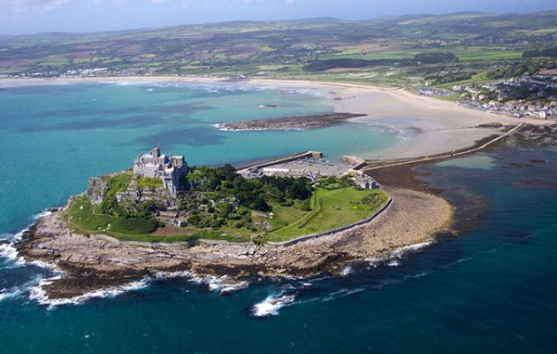 Aerial view of St. Michael's Mount, Penzance, Lands End Peninsula, West Penwith, Cornwall