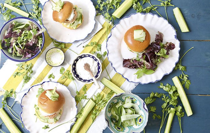 Salmon burgers with pickled-cucumber salad and tzatziki