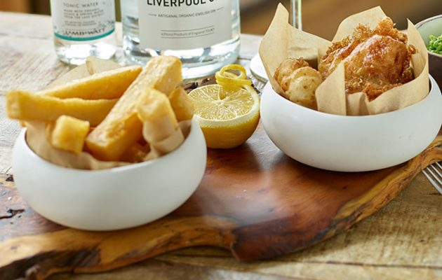 Gin fish and chips