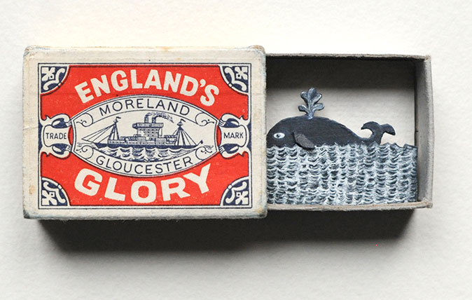 England's Glory by Hannah Battershell. Mixed Media and Paper Relief Collage in Vintage Matchbox, 18 x 18cm. £300 from GX Gallery at the Affordable Art Fair Bristol