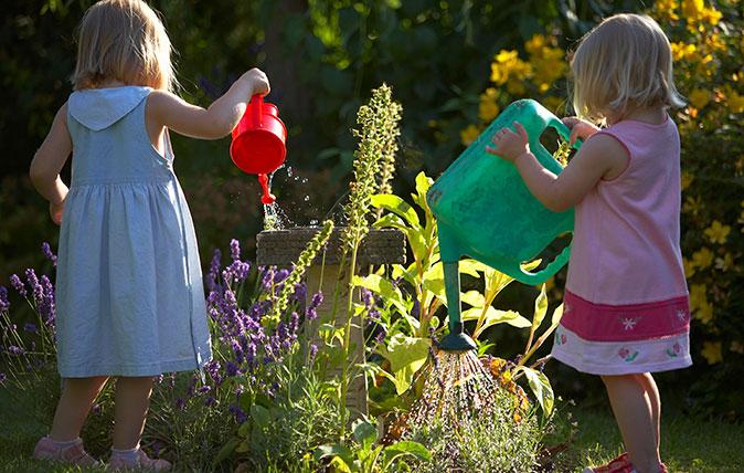 Children gardening