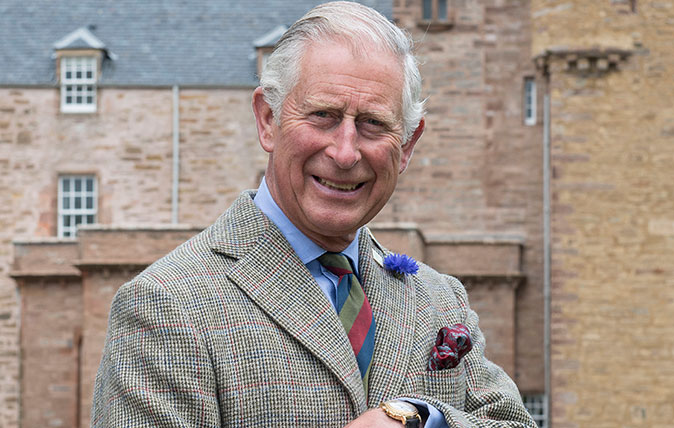 HRH The Prince of Wales outside the Castle of Mey, Caithness