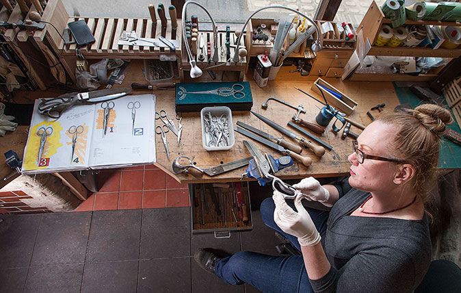 Cutler Grace Horner, a Folding Knife and Scissor Maker. Shot in her reconverted public convenience workshop in Sheffield. ©Richard Cannon/Country Life