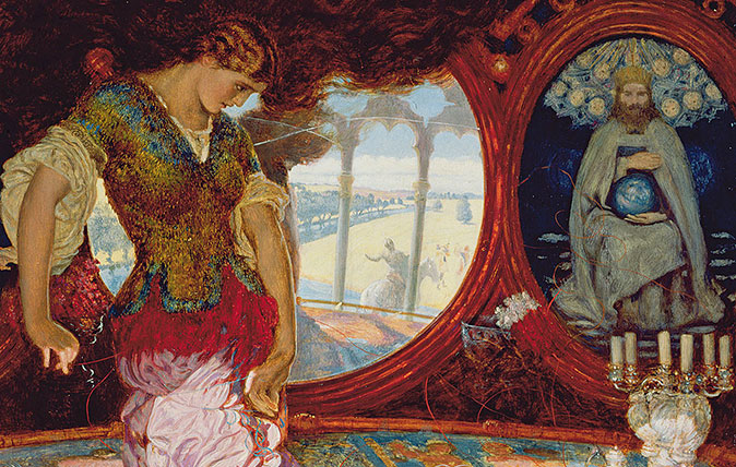 The Lady of Shalott, c.1886-1905 (oil on panel) (see also 495754) by William Holman Hunt (1827-1910). Oil on canvas, 44.4x34.1 cm. Part of the collection of the Manchester Art Gallery. The painting was inspired by the poem of 1832 by Alfred Lord Tennyson, 'The Lady of Shalott'. Hunt's depiction captures the moment after she has broken the rule of the curse forbidding her to look directly at the outside world and, seduced by the Sir Lancelot's joyful singing, has looked into the real world at Sir Lancelot; her tapestry is unravelling and symbolises the chaos and destruction that has now entered her world; behind her are portraits of Christ, on the left in Agony in the Garden and on the right, depicted in Majesty;).