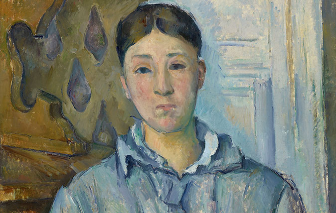 Madame Cézanne in Blue 1886-7. Part of the collection of the Museum of Fine Arts Houston and featured in the National Portrait Gallery's exhibition of the painter's work, 2017-18.
