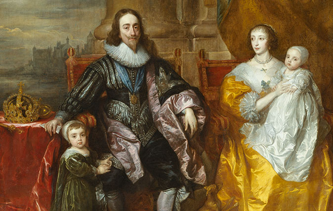 Anthony van Dyck (1599–1641), Charles I and Henrietta Maria with Prince Charles and Princess Mary ('The Greate Peece'), 1632 Oil on canvas, 303.8 x 256.5 cm RCIN 405353 Royal Collection Trust / © Her Majesty Queen Elizabeth II 2018 Exhibition organised in partnership with Royal Collection Trust