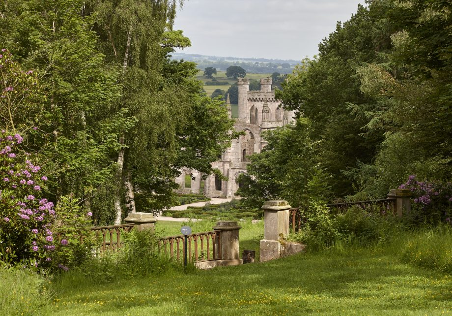The south front of Lowther Castle and view of the Parterre Garden from the gardens, designed by Dan Pearson.