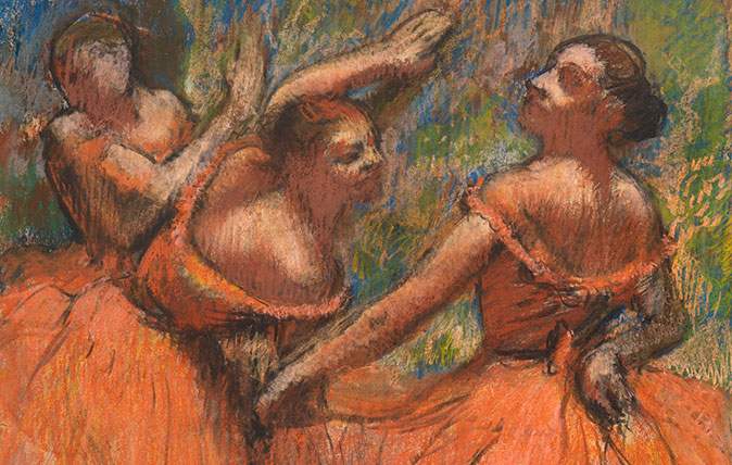 The Red Ballet Skirts Edgar Hilaire Germain Degas (1834 - 1919, French). Created circa 1895-1900, pastel on paper. Courtesy of The Burrell Collection, Glasgow © CSG CIC Glasgow Museums Collection
