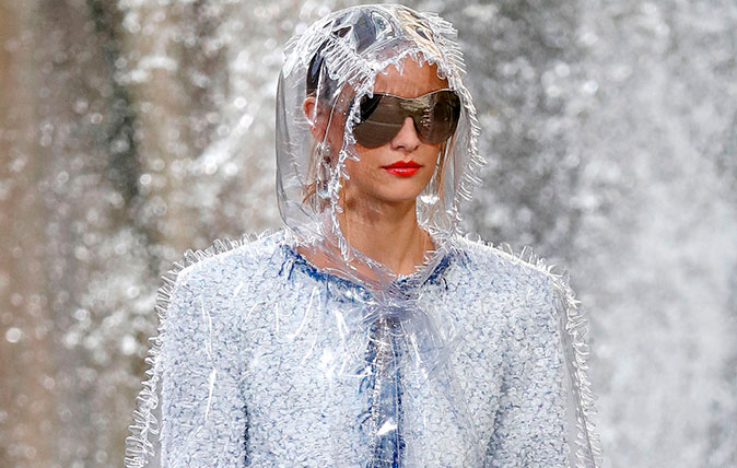 Plastic fashion: Plastic coat on show at the Chanel catwalk show