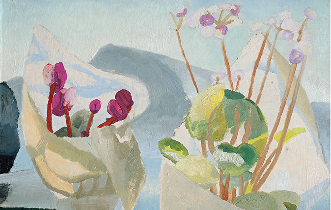 Winifred Nicholson, Cyclamen and Primula, 1923. Oil on board, 50 x 50 cm. Image courtesy of Kettle's Yard, University of Cambridge