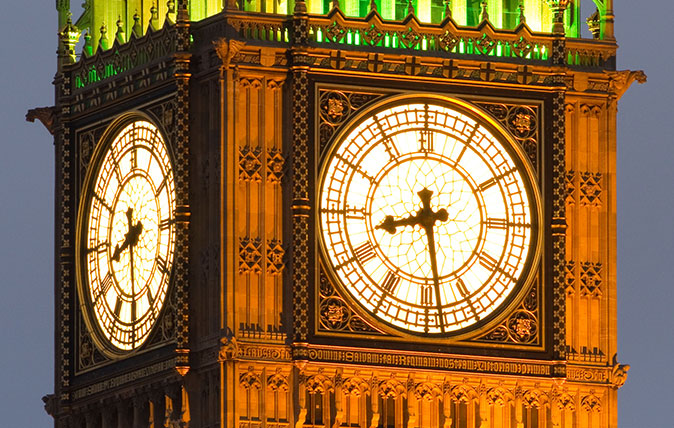 Clock face of Big Ben at the Houses of Parliament