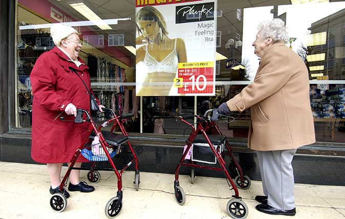 Old ladies with zimmer frames