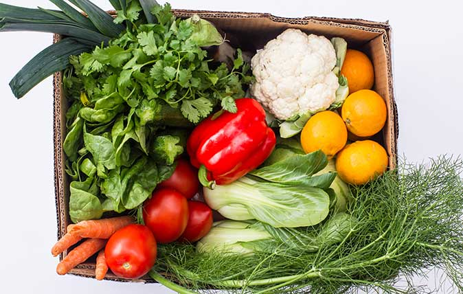 Vegetable box full of vegetables