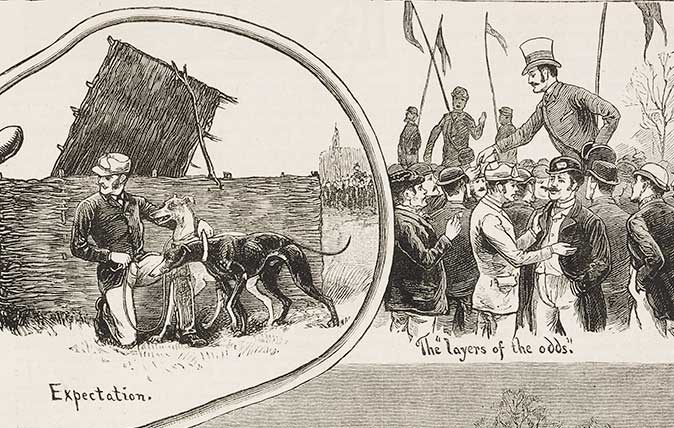 The trials for the Waterloo Cup – illustration from The Graphic, volume XXVII, no 691, February 24, 1883.