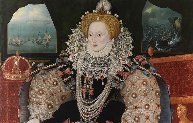 The Elizabeth I Armada Portrait, photographed after conservation was completed by Tina Warner/Jon Stokes. ©National Maritime Museum, Greenwich, London