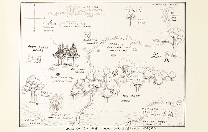 E. H. Shepard's map of Hundred Acre Wood in Winnie-the-Pooh