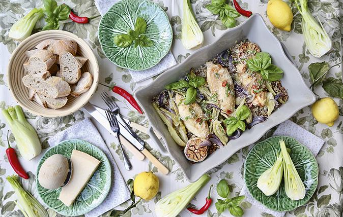 chicken, fennel and lemon traybake
