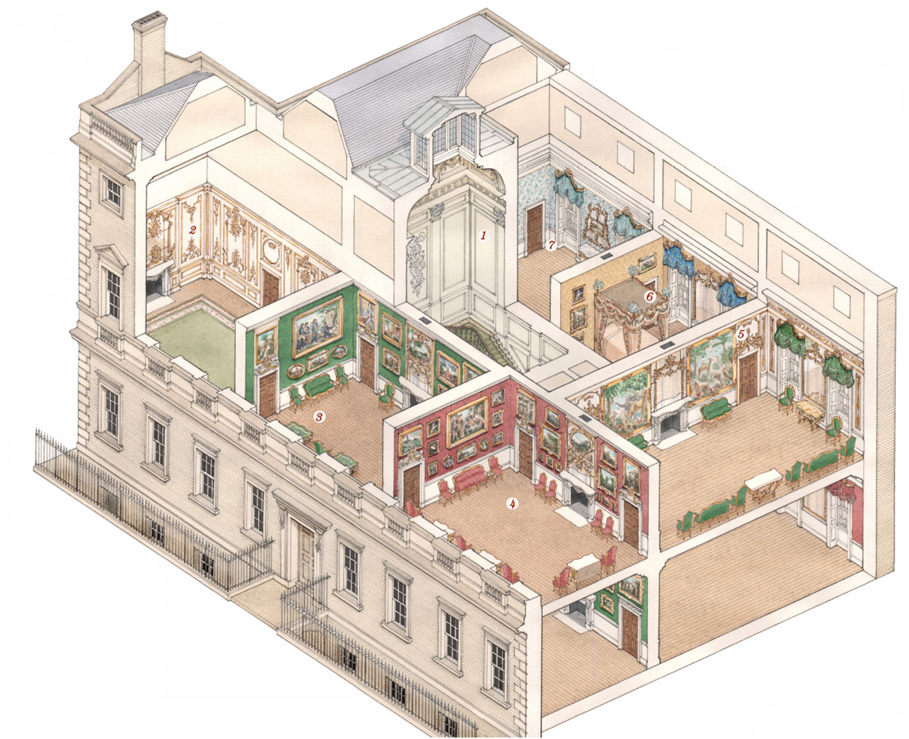 John martin robinson re creates the splendours of this outstanding georgian town house with the help of historical photography and a reconstruction drawing